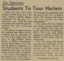 On Seminar: Students to Tour Harlem