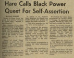 Hare Calls Black Power Quest For Self-Assertion