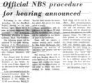 Official NBS procedure for hearing announced