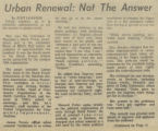 Urban Renewal: Not The Answer