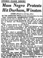Mass Negro Protests Hit Durham, Winston