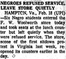 Negroes Refused Service; Leave Store Quietly