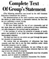 Complete Text Of Group's Statement