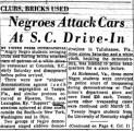 Negroes Attack Cars at S.C. Drive-in