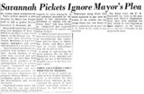 Savannah Pickets Ignore Mayor's Plea