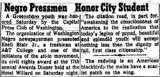Negro Pressmen Honor City Student