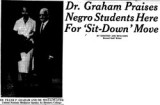 Dr. Graham Praises Negro Students Here for 'Sit-down' Move