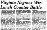Virginia Negroes Win Lunch Counter Battle