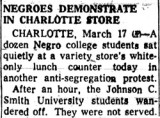 Negroes Demonstrate in Charlotte Store