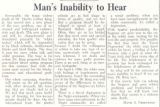 Man's Inability to Hear