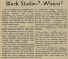 Black Studies? Where?