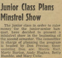 Junior Class Plans Minstrel Show