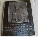 [Photograph of plaque honoring Willie Edward Jenkins]