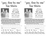 """Gay, fine by me"" tee shirts [order form]"