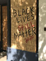 Protest art and boarded-up storefronts, Downtown Greensboro, N.C.