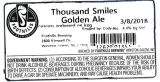 Foothills Brewing Thousand Smiles Golden Ale [keg label]