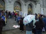Crowds at San Francisco City Hall during 2004 same-sex weddings