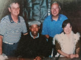 Gary Trowbridge and Frank Benedetti with unidentified man and Margaret Cho