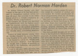 [Obituary for Norman Harden]