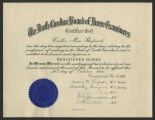 [Certificate of obstetrical nursing from Margaret Hague Maternity Hospital]