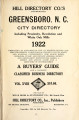 Hill Directory Co's Greensboro, N.C. city directory including Proximity, Revolution and White Oak...