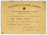 [Certificate of service with the American Red Cross at the Children's Bureau of Lyon]