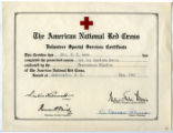 [Red Cross volunteer special services certificate]