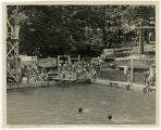 [Jean Payne Rabie with large group at swimming pool]