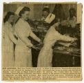 [Newspaper clipping of Jean Payne Rabie at the St. Leo's cafeteria]