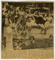 [Newspaper clipping of Jean Payne Rabie at the Oakmont swimming pool]