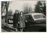[Photograph of Jean Payne Rabie with another woman beside a car]