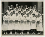 [St. Leo's nurse's class on steps 1950]