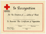 [American Red Cross in reocgnition blank award]