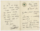 Correspondence from Sir Henry Irving