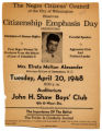 [Flier for Citizen Emphasis Day featuring Elreta Alexander]