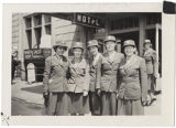 [Five WACs in front of hotel, circa 1943]