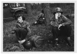 [Three WACs on bivouac in Germany, circa 1950]