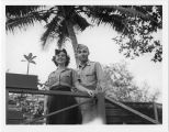 [Lucy Slade Libby and serviceman in Guam, 1945]