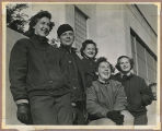 "[Marian ""Mac"" McBurney Kilgore and four friends wearing cold weather gear, circa 1944]"
