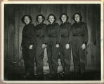 "[Marian ""Mac"" McBurney Kilgore and four other WAVES attired in new uniforms, 1944]"
