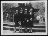 [Four WAVES in front of fountain, circa 1945]
