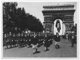 [WACs march beneath Arc de Triomphe, Paris, 1945]