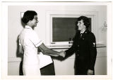 [Wendy Gellert receives congratulations for reenlisting, 1968]