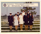 [Wendy Gellert poses recruit instructors at Naval Training Center, circa 1972]