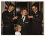 [Paula Trivette receiving her lieutenant colonel insignia, 1991]