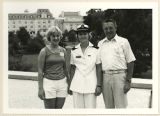 [Barbara A. Wujciak in service dress whites with Donald and Christine Wujciak, August 1980]