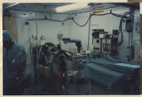 [312th Army evacuation hospital structure interior with equipment and personnel member, Saudi...