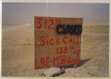 [Plywood sign for 312th Evacuation Hospital, Saudi Arabia, 1991]
