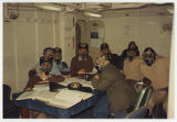 [Photograph of the USS Yellowstone (AD-41) crew in gas masks, 1992]