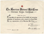 [American Red Cross Overseas Service Certificate, 1946]